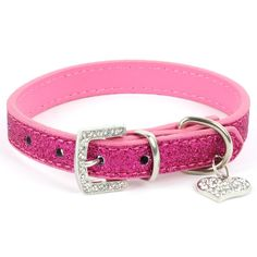 Balight Pet Dog Bling Love Bling Diaond Heart Pendant Collar Blue -- Click image for more details.