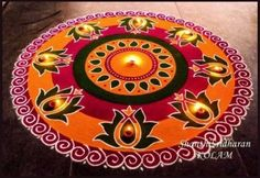 We have included beautiful diwali rangoli designs from shanthi's gallery. It's believed that rangoli designs started many centuries ago. Some refrences of rangoli designs are also available in our Indian Rangoli Designs, Rangoli Designs Latest, Simple Rangoli Designs Images, Rangoli Designs Flower, Rangoli Border Designs, Rangoli Patterns, Colorful Rangoli Designs, Rangoli Ideas, Flower Rangoli