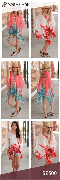 🌟NEW🌟Summer Fun Floral Cover-Up LIMITED AVAILABILITY: Only 1 of each color is available! This beautiful cover up is perfect for the pool and beach this summer!! One size fits S-L. 100% polyester🌟PRICE FIRM UNLESS BUNDLED🌟 Infinity Raine Swim Sarongs