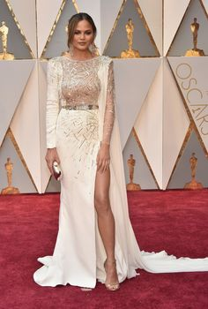 2017 Oscars: Celebrity Style From the Red Carpet  Chrissy Tiegen in Zuhair Murad