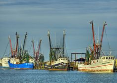 Shrimp boats in Aransas Pass; reprint as an art piece in color or black - white