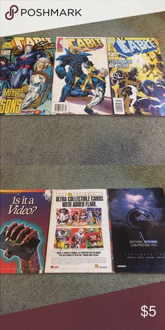Cable Comic Books 3 Cable comic books. Front cover flawed on one and back cover flawed on the other. Good condition but not great. Other