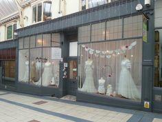 The Bridal Emporium, Leeds, England shop window displays! Visual merchandise, vintage wedding shop and bespoke gowns!