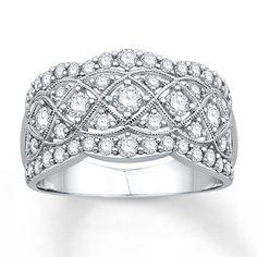 Diamond Anniversary Ring 1 ct tw Round-cut 14K White Gold