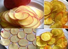 Put thin slices of potato in to microwave for 10 mins. Serve with sour cream/salsa sauce/garlic sauce etc. Or add some shredded cheese on top n send it back in for about 2 more mins. Great for unexpected guests! Microwave Potato Chips, Microwave Recipes, Potato Pasta, Potato Crisps, Diet Recipes, Snack Recipes, Snacks, Kettle Chips, Micro Onde