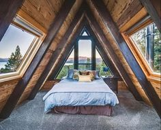 A frame bedroom with great windows