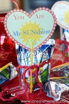 Valentine Printable: You Are My Sunshine for Capri Suns! www.oneshetwoshe.com