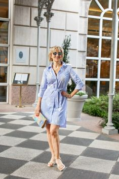 It seems like wherever I go shopping, brands are featuring their own unique version of the classic blue and white striped shirtdress. Here are the tips on how to style a blue and white striped shirt dress for women of all ages Slim Fit Dresses, Casual Dresses For Women, Casual Outfits, Clothes For Women, Dress Casual, Cute Floral Dresses, Pretty Dresses, White Embroidered Dress, Long Tunic Tops