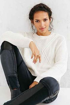 Silence + Noise Cropped Allover Stitch Sweater - Urban Outfitters
