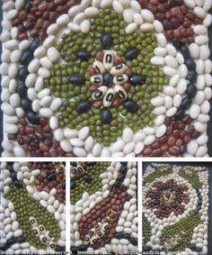 iznik tile-inspired bean art tile mosaics from Turkey