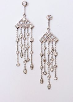 Art Deco Earrings, diamante chandelier earrings,