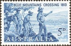 """Stamp: Blaxland, Lawson and Wentworth in the year 1813 (Australia) anniv. of the first crossing of the """"Blue Mountains"""") Mi:AU 352 Old Stamps, Vintage Stamps, Blue Mountains Australia, First Fleet, Stamp Collecting, Science And Nature, Botanical Prints, Poster, Auction"""