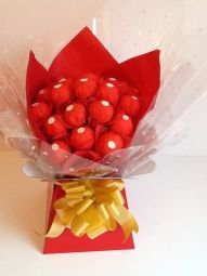 Ferrero Rocher Chocolate Bouquet in Red Ferrero Rocher Bouquet, Ferrero Rocher Chocolates, Chocolate Boutique, Sweet Trees, Handcrafted Jewelry, Handmade, How To Make Chocolate, Vintage Gifts, Jewelry Crafts