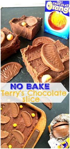 You'll love this Easy Terry's Chocolate Orange Slice - no bake and just a few minutes to make! Terry's Chocolate Orange, Chocolate Slice, Melting Chocolate, Chocolate Chips, Tray Bake Recipes, Easy Baking Recipes, Baking Ideas, No Bake Cookie Dough, No Bake Snacks