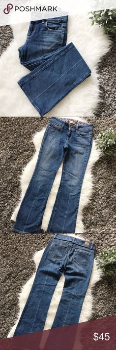 Paige Hidden Hills Premium Denim Jeans. Paige premium denim jeans/hidden hills. 98% Cotton, 2% spandex. Flared. Blue. Great used condition. Front zipper with two buttons. Paige Jeans Jeans Flare & Wide Leg