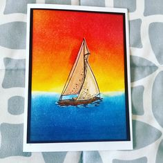 Sailing Competition by lantana - Cards and Paper Crafts at Splitcoaststampers Sailboat Racing, Tim Holtz Distress Ink, Mermaid Lagoon, Ocean Scenes, Petunias, Different Colors, Card Stock, Competition, Sailing