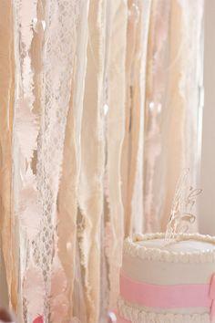Ribbon Backdrop from an Elegant Princess Baby Shower via Kara's Party Ideas | KarasPartyIdeas.com (7)