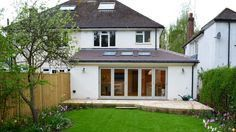Simple wraparound extension to semi-detached family home. Home Design, Small Space Interior Design, Bungalow Extensions, House Extensions, Semi Detached, Detached House, Wraparound Extension, House Extension Design, Extension Ideas