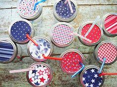 Dollar Store jars. Cupcake liners. Colorful straws.
