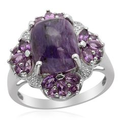 Liquidation Channel: Siberian Charoite and Amethyst Ring in Platinum Overlay Sterling Silver (Nickel Free)