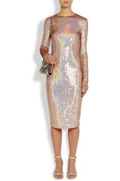 Givenchy|Knee-length dress in iridescent sequined jersey|NET-A-PORTER.COM