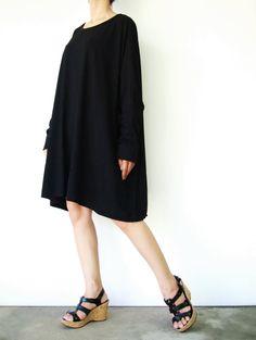 NO.62    Black Cotton Jersey Oversized TShirt by JoozieCotton