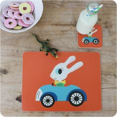 George Rabbit coaster and placemat gift set - perfect christening, birthday or Christmas present.  #Kidsinteriors #children'stableware #kidsbirthdaypresentidea #christeningpresentideas #kidstablewares #scandidesigns #rabbitdesign #christmaspresentidea