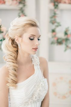 Long hair with side curls and wedding pretty dress