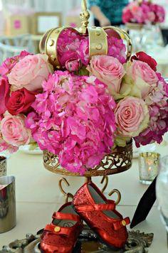 Floral Table Centerpiece at a Fairytale Princess Baby Shower on KarasPartyIdeas.com #fairytale #princess #babyshower