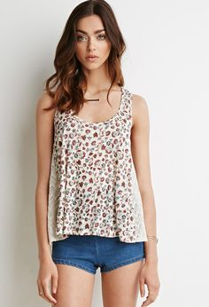 Crocheted Floral Print Top | Forever 21 Canada