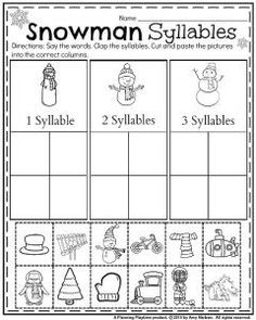 Winter themed syllables worksheet for Kindergarten. Cut and paste the items under the correct snowman.