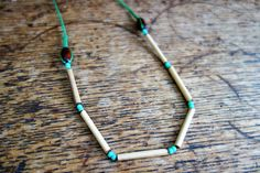 Tribal African hippy green turquoise brown and bamboo