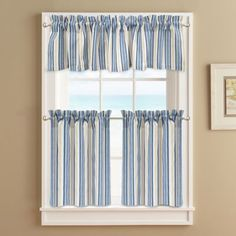 Buy Ropes 24–Inch Window Curtain Tier Pair in Blue from Bed Bath & Beyond