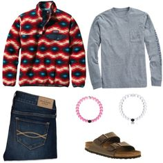 preppy school outfit by tumblr-outfitss on Polyvore featuring polyvore, fashion, style, Patagonia, Vineyard Vines, Abercrombie & Fitch, Birkenstock and Everest