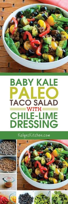 Baby Kale Paleo Taco Salad with Chile-Lime Dressing is also Whole 30, low-carb, Keto, low-glycemic, gluten-free, and South Beach Diet friendly.  [found on http://KalynsKitchen.com]
