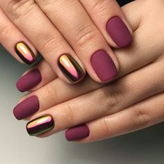 Beautiful autumn nails Fall nails 2017 Ideas of matte nails Ideas of plain nails Maroon nails Maroon nails with a picture Matte nails Mirror nails Light Colored Nails, Light Nails, Matte Nails, My Nails, Fall Nails, Polish Nails, Chrome Nails, Acrylic Nails, Matte Maroon Nails