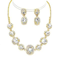 Affordable Wedding Jewelry Clear Rhinestone Earrings Gold Necklace Set Bridal Pageant Formal Christina Collection http://www.amazon.com/dp/B015YHKJL8/ref=cm_sw_r_pi_dp_Mbuqwb0BH1N04