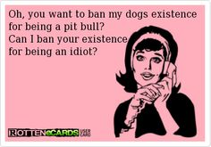 I came into contact with a person like this at work the other day...and I couldn't say anything to him other than our beliefs are different and I have never met a pit that deserves to be banned. I was infuriated...wanted to rip him a new one :/