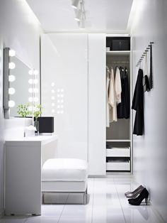 minimalist closet design ideas white furniture walk in closet dressing table Ikea Pax Wardrobe, Wardrobe Closet, Closet Bedroom, Wardrobe Doors, Closet Space, Closet Doors, Glass Wardrobe, Closet Mirror, Ikea Closet