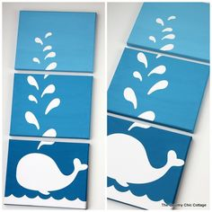 A Fun Craft Tutorial Showing You How To Make Some Whale Canvas Art This One