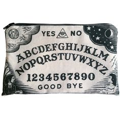 Ouija Board Makeup Bag Pencil Pouch ($18) ❤ liked on Polyvore featuring beauty products, beauty accessories, bags & cases, make up purse, travel toiletry case, toiletry kits, toiletry bag and purse makeup bag