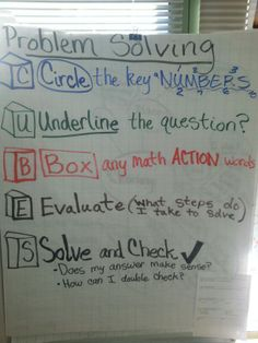 CUBES Math Problem Solving anchor chart Cubes Math Strategy, Math Strategies, Math Classroom, Classroom Organization, Classroom Ideas, Teaching Math, Maths, Teaching Ideas, Math Anchor Charts