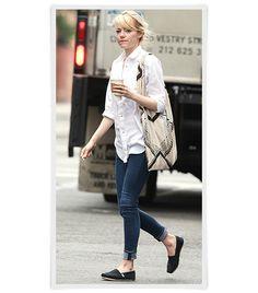6cee15e663a1f4 Who made Emma Stone s white button down top