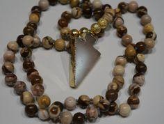 Crystal Arrow head Mala bead Boho necklace by AdaezeCulture