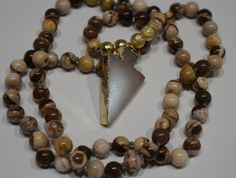 Crystal Arrow head Mala bead Boho necklace by AdaezeCulture
