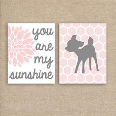 Woodland Deer Nursery Art Prints - Nursery Prints You Are My Sunshine Set of…