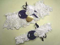 Select Your Rose Color on this White Wedding Garter Set in Lace with Personalized Engraving