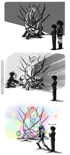 Attack On Titan 進撃の巨人 shingeki no kyojin Anime Meme, Otaku Anime, Manga Anime, Fanarts Anime, Chibi, Attack On Titan Meme, Hxh Characters, Eren X Mikasa, Harry Potter Anime