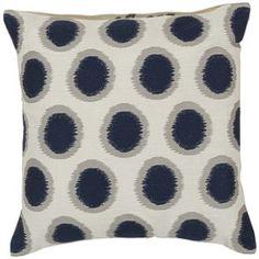 Surya Pillows AR088-1818P $104.50 each #interiors #decor #outdoor #linen #blue #white #circles