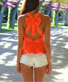 bows shirt orange tank top tank top cut outs bright orange summer top summer outfits super cute